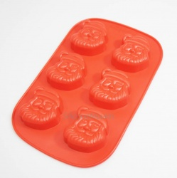 6 cell Father Christmas Santa Silicone Cake Chocolate Mould - 55ml volume