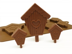 6+1 Birdhouse / Bird House Chocolate / Candy Silicone Mould