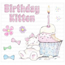 Strawberry Kisses - Birthday Kitten Stamp Set