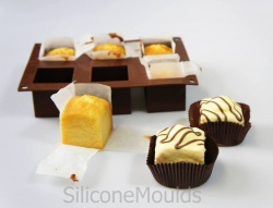 6 cell CUBE / SQUARE Silicone Bakeware Mould - Mini Wedding Cake
