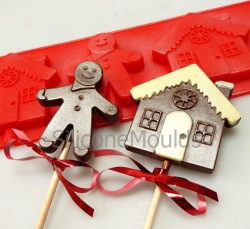 4 cell Gingerbread House Man Lolly / Chocolate Bar Silicone Mould
