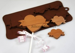 4+1 Heart Tattoo Silicone Chocolate / Candy Baking Mould