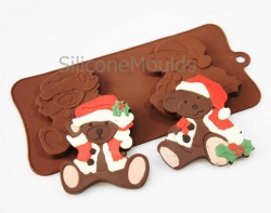 2 Large Santa Bears Chocolate / Candy Silicone Baking Mould ©SJK