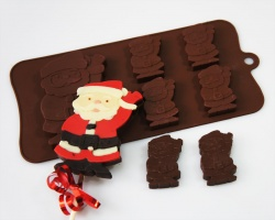 4+1 Waving Santa Lolly / Novelty Chocolate Bar Silicone Baking Mould