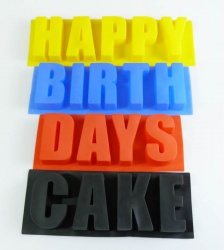 WORDS set of 4  Silicone Baking Moulds - Happy Birth Days AND Cake